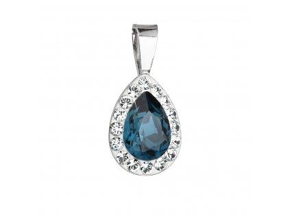Stříbrný přívěsek s krystaly Swarovski modrá slza 34252.3