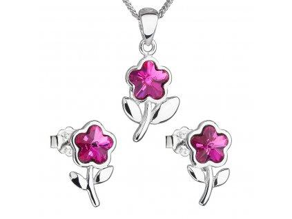 Sada šperků s krystaly Swarovski náušnice,řetízek a přívěsek růžová kytička 39172.3 fuchsia