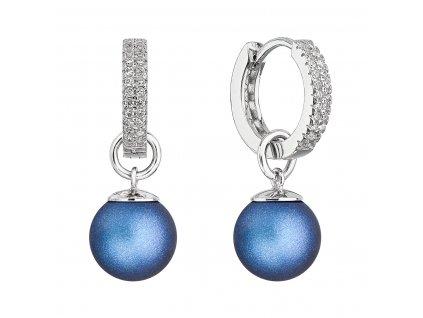 Stříbrné visací náušnice kroužky s tmavě modrou perlou 31298.3