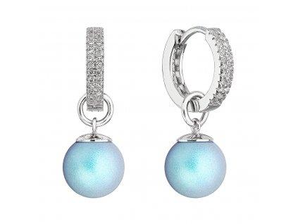 Stříbrné visací náušnice kroužky se světle modrou perlou 31298.3