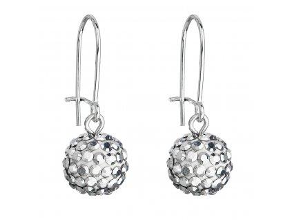 Náušnice bižuterie s krystaly 71119.5 stříbrné