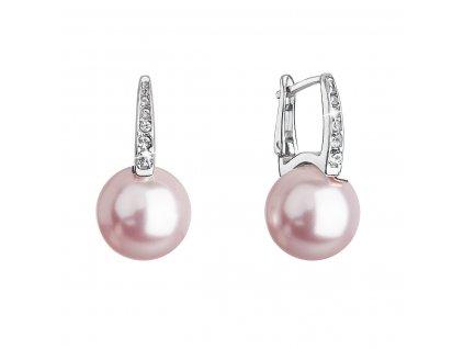 Stříbrné náušnice visací se Swarovski perlou a krystaly 31301.3 rosaline