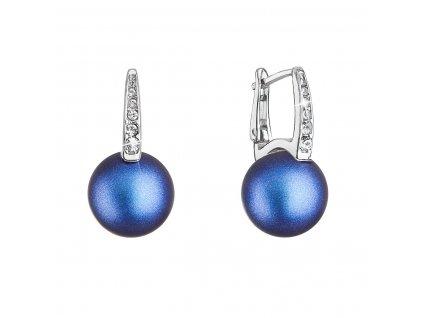 Stříbrné náušnice visací se Swarovski perlou a krystaly 31301.3 tmavě modré