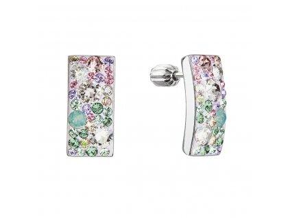 Stříbrné visací náušnice se Swarovski krystaly růžovo-zelený obdélník 31303.3 sakura