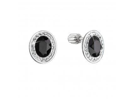 Stříbrné náušnice pecky se Swarovski krystaly černý oválek 31304.3