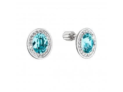 Stříbrné náušnice pecky se Swarovski krystaly modrý oválek 31304.3