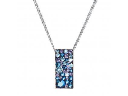 Stříbrný náhrdelník se Swarovski krystaly modrý obdélník 32074.3 blue style