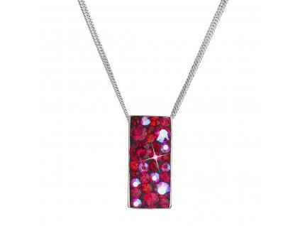 Stříbrný náhrdelník se Swarovski krystaly červený obdélník 32074.3 cherry