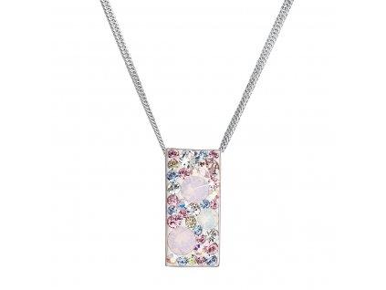 Stříbrný náhrdelník se Swarovski krystaly růžový obdélník 32074.3 magic rose