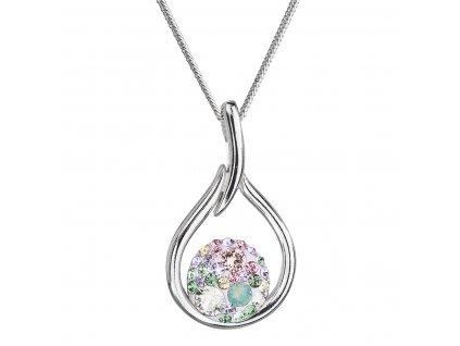 Stříbrný náhrdelník se Swarovski krystaly kapka 32075.3 sakura