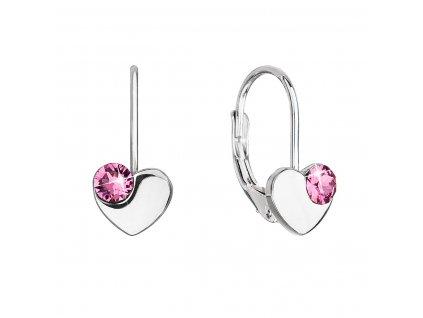 Stříbrné visací náušnice se Swarovski krystaly srdíčka 31299.3 růžové