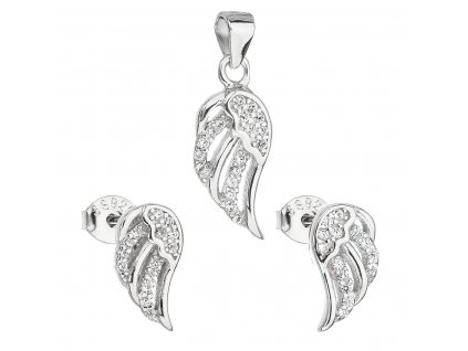 Sada šperků se zirkonem v bílé barvě náušnice a přívěsek 19008.1