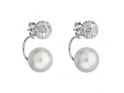 Stříbrné náušnice dvojité s krystaly Swarovski bílé kulaté 31179.1