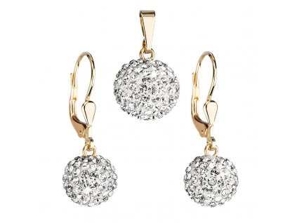 Zlatá 14 karátová sada šperků s krystaly Swarovski náušnice a přívěsek bílá 939072.1