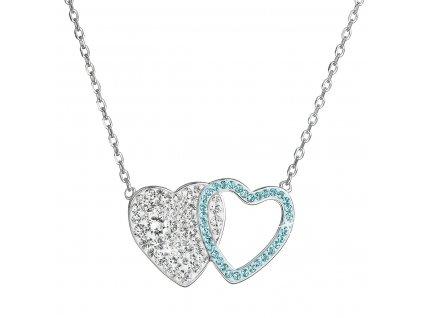 Stříbrný náhrdelník dvojité srdce se Swarovski krystaly 32079.3 modré