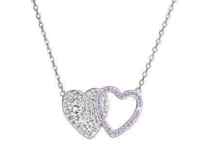 Stříbrný náhrdelník dvojité srdce se Swarovski krystaly 32079.3 fialové