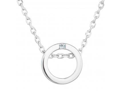 Stříbrný náhrdelník se zirkonem bílý kulatý 12015.1