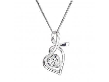 Stříbrný náhrdelník se Swarovski krystaly srdce bílé 32071.1
