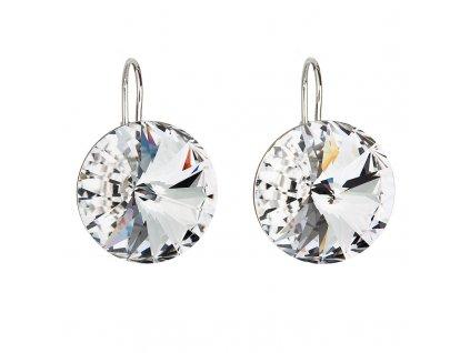 Stříbrné náušnice visací s krystaly Swarovski bílé kulaté 31153.1