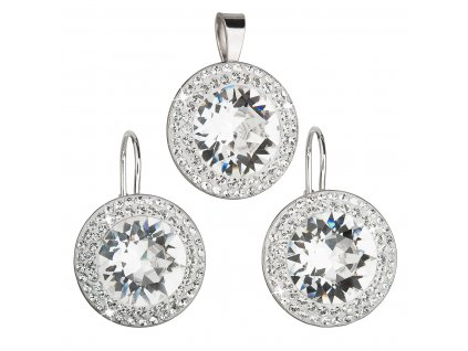 Sada šperků s krystaly Swarovski náušnice a přívěsek bílé kulaté 39108.1