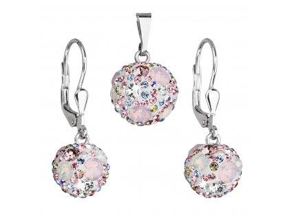Sada šperků s krystaly Swarovski náušnice a přívěsek růžové kulaté 39072.3