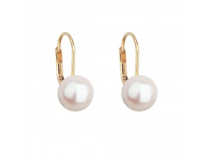 Zlaté 14 karátové náušnice visací s bílou říční perlou 921009.1