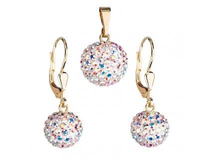 Zlatá 14 karátová sada šperků s krystaly Swarovski náušnice a přívěsek AB efekt 939072.2