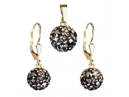 Zlatá 14 karátová sada šperků s krystaly Swarovski náušnice a přívěsek mix barev 939072.4 colorado