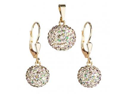 Zlatá 14 karátová sada šperků s krystaly Swarovski náušnice a přívěsek zeleno-zlatá 939072.6