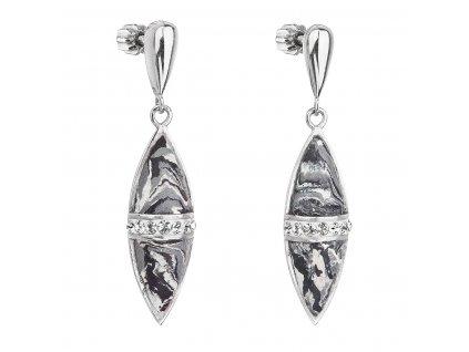 Stříbrné visací náušnice kapky šedý mramor se Swarovski krystaly 71089.1