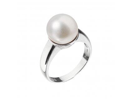 Stříbrný prsten s bílou říční perlou 25001.1