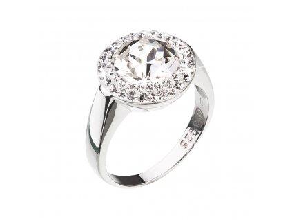 Stříbrný prsten s krystaly Swarovski kulatý bílý 35026.1