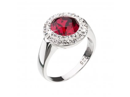 Stříbrný prsten s krystaly Swarovski červený kulatý 35026.3