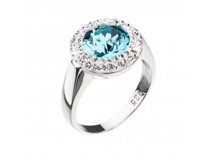Stříbrný prsten s krystaly Swarovski tyrkysový kulatý 35026.3
