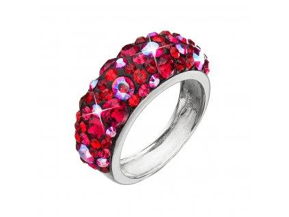 Stříbrný prsten s krystaly Swarovski červený 35031.3 cherry