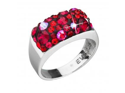 Stříbrný prsten s krystaly Swarovski červený 35014.3 cherry