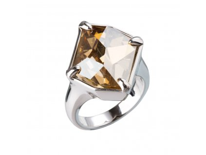 Stříbrný prsten s krystaly zlatý 35805.5
