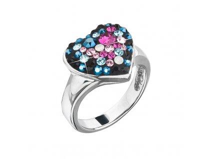 Stříbrný prsten s krystaly Swarovski mix barev srdce 35044.4 galaxy