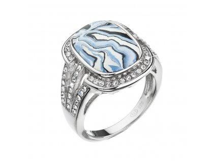 Stříbrný prsten obdélník modrobílý mramor se Swarovski krystaly 75015.1