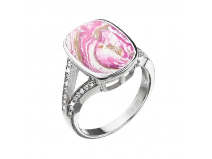 Stříbrný prsten obdélník růžovobílý mramor se Swarovski krystaly 75014.1