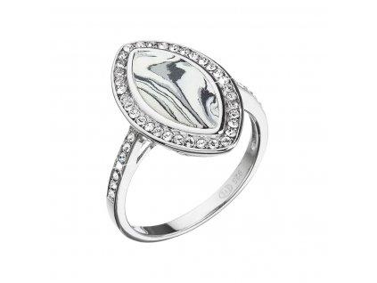 Stříbrný prsten ovál černobílý mramor se Swarovski krystaly 75013.1