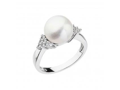 Stříbrný prsten s bílou říční perlou 25002.1