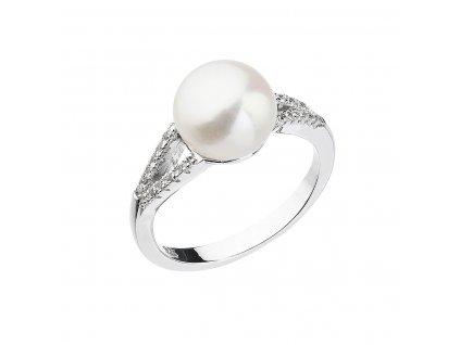 Stříbrný prsten s bílou říční perlou 25003.1