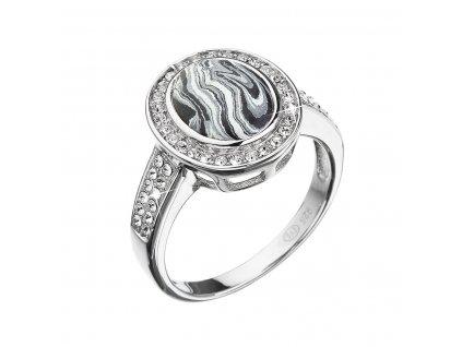 Stříbrný prsten ovál černobílý mramor se Swarovski krystaly 75018.1