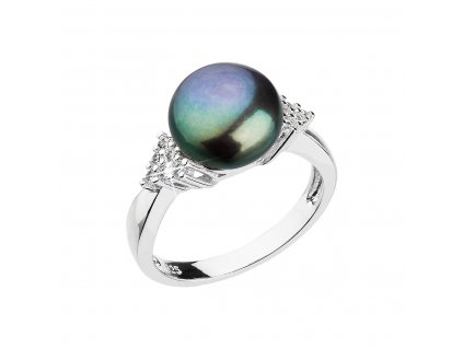 Stříbrný prsten s modrou říční perlou 25002.3