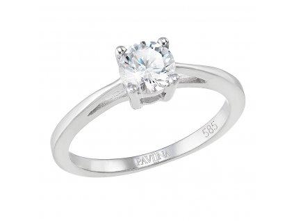 Zlatý prsten 85032.1 bílé zlato s briliantem