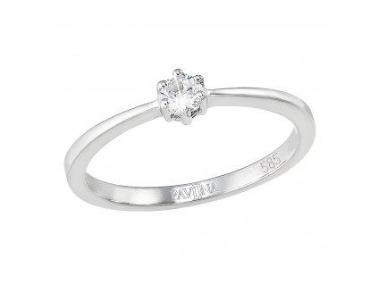 Zlatý prsten 85033.1 bílé zlato s briliantem