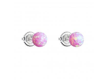 Stříbrné náušnice pecky se syntetickým opálem růžové kulaté 11246.3