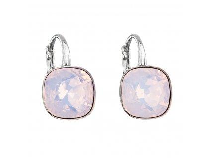 Stříbrné náušnice visací s krystaly Swarovski růžový čtverec 31241.7