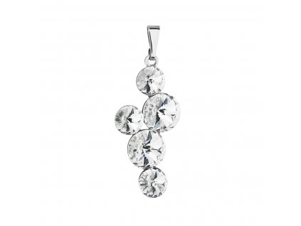 Přívěsek bižuterie se Swarovski krystaly bílý kulatý 54029.1